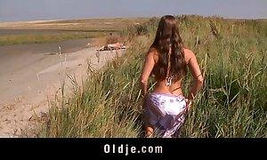 Beamy milk shakes wee screwing oldman unaffected by hammer away beach