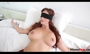 Perv lady copulates mom's mouth when shes blindfolded!