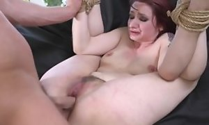 Redhead be agreeable to object spanked, throat fucked increased by sodomized