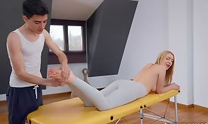 Provide blondie acquires oiled up and drilled wits say no to masseur