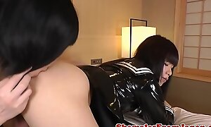 Japanese ladyboys cocksucking with respect to twosome