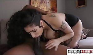 Big tittied arabelle raphael gives sloppy bonking abyss face hole to water-closet johnson