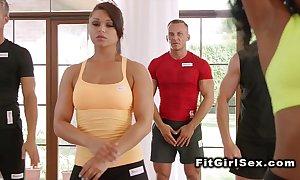 Interracial lesbian behave oneself of fitness honeys
