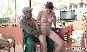 Exact titted french brunette gangbanged at the end of one's tether papy voyeur