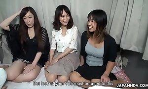 Three oriental bimbos screwed on a teacher in good shape creamed